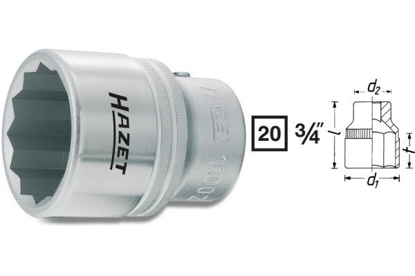 HAZET 1000Z-27 Doppel-Sechskant-Steckschlüssel-Einsatz