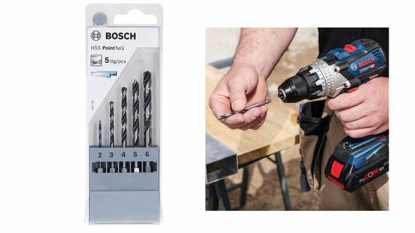 BOSCH HSS-Spiralbohrer PointTeQ mit Sechskantschaft 5-teiliges Set von 2,0 bis 6,0 mm