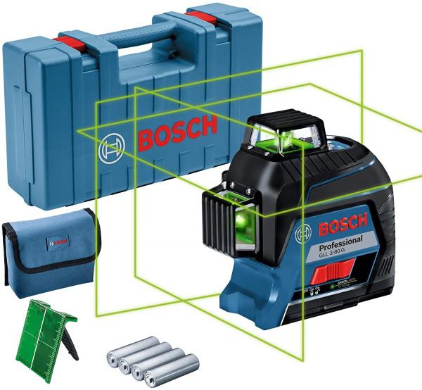 Bosch Professional Linienlaser GLL 3-80 G (grüner Laser, max. Arbeitsbereich: 30 m, 4x AA Batterie,